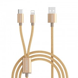 Romoss 2in1 USB to Lightning|Type C 1.5m Cable Gold