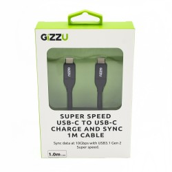 GIZZU USB3.1 C to USB-C 1m Cable Black