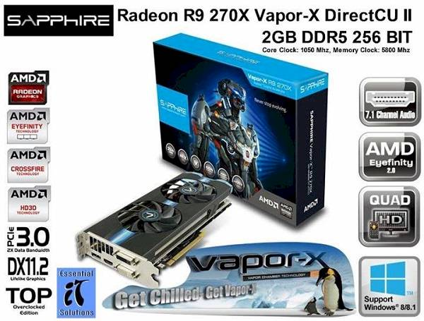 Sapphire Radeon R9 270X Vapor-X 2GB DDR5 OC With Boost Graphics Card