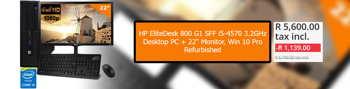 "HP EliteDesk 800 G1 SFF i5-4570 3.2GHz, Desktop PC + 22"" Monitor, Win 10 Pro, - Refurbished"