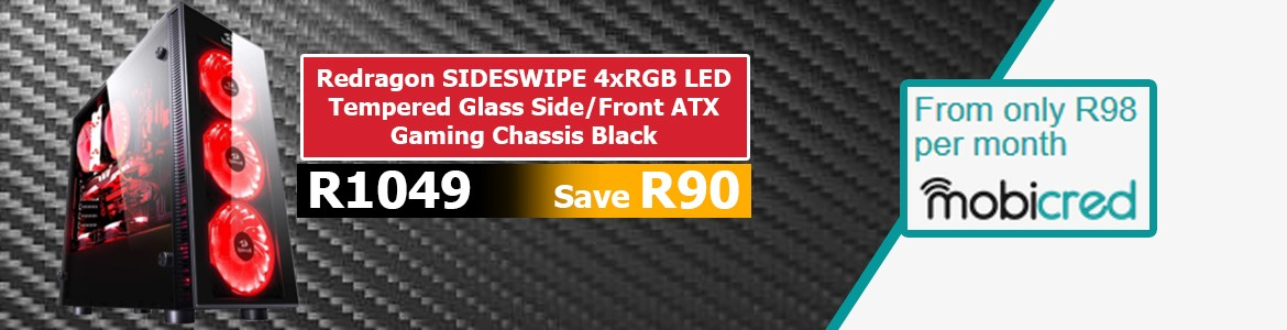 Redragon SIDESWIPE 4xRGB LED Tempered Glass Side/Front ATX Gaming Chassis Blac