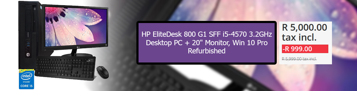 "HP EliteDesk 800 G1 SFF i5-4570 3.2GHz, Desktop PC + 20"" Monitor, Win 10 Pro, - Refurbished"